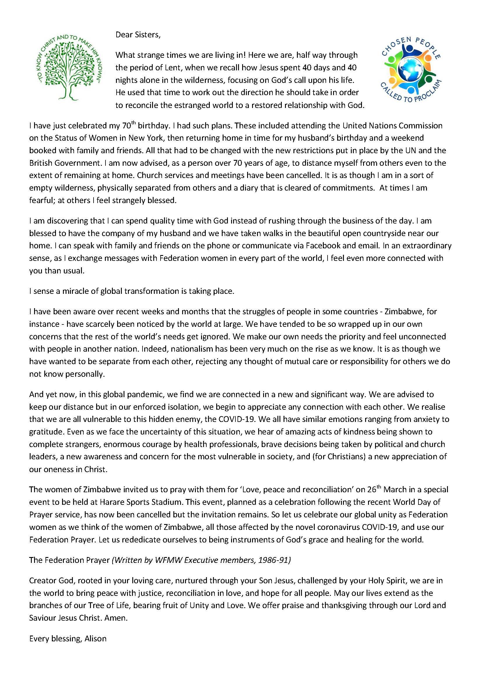 President's Letter – Lent 2020